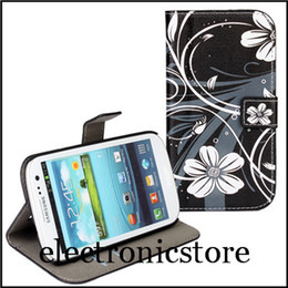 Wholesale Stand For Galaxy S3 - For samsung galaxy s3 i9300 phone Leather print wallet stand case cover with 2 kinds + Free shipment