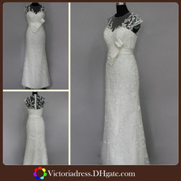 Wholesale Porcelain A Line Long Wedding Dresses Made In China Cap Sleeve See Through Floor Length Embrodiery Real Sample Pictures Mermaid Bridal Gown