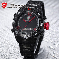 Sport Men's Round Wholesale-SHARK Black Stainless Steel Metal Band Digital LED Date Alarm Red Running Analog Quartz Wrist Men Sport Watch SH101