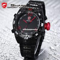 Sport Men's Round Wholesale-SHARK Black Stainless Steel Metal Band Digital LED Date Alarm Red Running Analog Quartz Wrist Men Sport Watch SH101