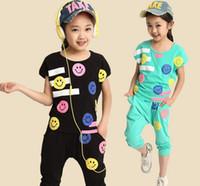 Summer teenage fashion - New Arrival Children Summer Clothing Set Teenage Girls Fashion Sports Smiling Face Suit Short Sleeve T Shirt Pants