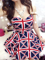 Wholesale Union Jack Dress Women Ladies Fashion Sexy Sleeveless Off Shoulder Leopard Night Club Party Skater Tube Novelty Mini Dress