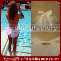 Wholesale Unique Lovely Sexy Bridal Booty Veil Wedding Party White or Ivory Bikini Veils with Bow