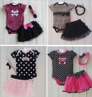 Summer baby girl clothing sets - Baby clothes clothing set Girl Baby Short Clothes Costume Leisure Infant Girls Top Romper Skirt Headband sets newborn M Brand New