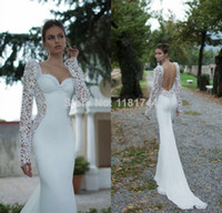 Wholesale 2014 new romantic lace applique long sleeved wedding dress sexy backless chiffon mermaid wedding dress