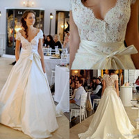 Wholesale 2014 V Neck Cap Sleeves A Line Taffeta Sheer Lace Wedding Dresses Off The Shoulder Brush Train Sash Wedding Bridal Gown BO5971