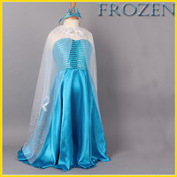 Wholesale 2014 Girls Frozen Party Dresses Queen Elsa Anna Princess Dresses Kids Sequin Dress Baby Cosplay Crown Christmas Children Dresses GZ GD112