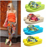 Wholesale 2014 Summer bohemia flower flip flops platform wedges women sandals platform flip slippers beach shoes