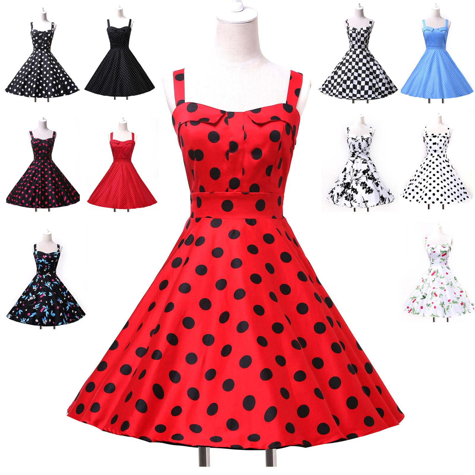 2014 Pin Up Retro Vintage Rockabilly 50s 60s Polka Dot Floral ...