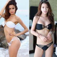 Wholesale 2014 New fashion Hot Sale Sexy women Bandeau Bikini Swimwear Strappy Top Brazilian Bottom Swimsuit Set SV000548