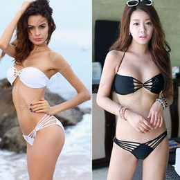 Wholesale 2014 New fashion Hot Sale Sexy women Bandeau Bikini Swimwear Strappy Top Brazilian Bottom Swimsuit Set SV000548