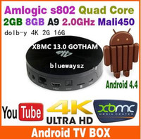 Quad Core Included 1080P (Full-HD) Android 4.4 Kitkat Amlogic S802 2.0GHz Vega S82B Smart TV BOX Quad Core 2GB 8GB 16G XBMC 13.0 GOTHAM ADD ONS BT RJ45 HDMI Mali450 4K 10PCS