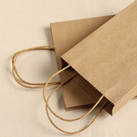 Paper Household Yes Wholesale - Size 21x16x8cm Brown Paper Shopping Bag Kraft Paper Bags With Handle Free Shipping