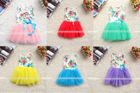 Wholesale Fashion Summer Children Floral Dress Girls Cute Tulle Tutu Dresses Kids Printed Party Dress Children Clothes