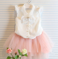 Wholesale 2014 Summer flying sleeve diamond decoration bow chiffon T shirt pearl button shirt clothes organza girls children kid cloth L0027