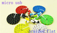Universal   1M 3ft Noodle Flat Cable For V8 v9 Micro usb Fabric Braided USB Data Sync Cloth Woven Fiber Knitted Nylon Cords