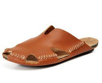 Wholesale 2014 new men sandals genuine leather shoes for men flip flops brand beach shoes slippers rubber sole size