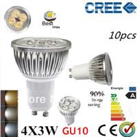 Cheap Factory directly sale 10pcs lot CREE Bulb led bulb GU10 12w 4x3W 110V 220V Dimmable led Light led lamp spotlight free shipping