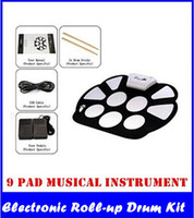 Wholesale Fashion New Set Portable Drum Pad USB Electronic Drums With Flexible Mat Drums Included Drumsticks and Pedals new top