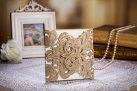 Wholesale 50pcs Vintage Elaborate Flower Lace Elegant Classic Wedding Invitations Card Printable and Customizable