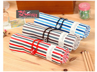 Canvas Bag  Fashion The Navy striped canvas Pencil Bag Cosmetic Bag Make Up Case small gifts bag clutch