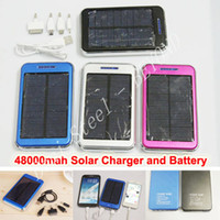 Wholesale Dual USB Charging Ports V A W Solar Panel Charger mAh Travel Power Pack Battery for iPhone Samsung HTC ipad