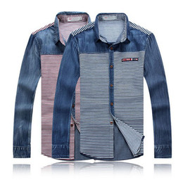 Wholesale Autumn country flag Men long sleeved denim shirt stripe washing business dress polo shirts S0516