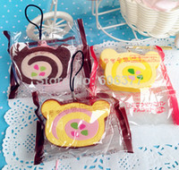 lymays PU 5cm Wholesale-SRS30 Cute cartoon SAN-X Rilakkuma cake Roll cell phone charm,small order, free shipping