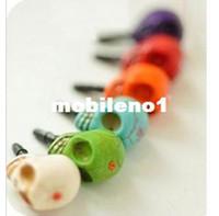 Cheap Wholesale-P2 fashion punk skull cell phone earphones dust plug phone dust plug free shipping(MIN order $10 mixed order)