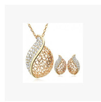 Earrings & Necklace acacia leaves - Fashion Crystal Set OL style hollow lover Acacia leaves Jewelry sets necklace earrings Noble jewelry for women L Set LM S055
