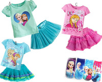 Wholesale Retail FREE FROZEN SOCKS Romance FROZEN ELSA ANNA ice princess dress Girls tutu skirt suit T shirt skirt ON SALE set