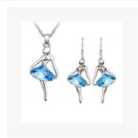 Wholesale Fashion Crystal Set Jewelry sets Fantasy ballet dancer girl necklace earrings Noble jewelry for women L Set LM S090