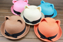 Wholesale Fashion lady Cat ears style straw hat sunhat sombrero women summer beach cap