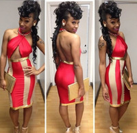 Casual Dresses V_Neck Sheath 2014 New Fashion Women Sexy Halter Red and Gold Patchwork Backless Mini Dress Celebrity Bodycon Bandage Party Dress 4203