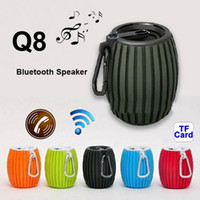 2.1 Universal MP3 Speaker HiFi Outdoor Sports Bluetooth Mini Speaker Q8 Bomb Style with Hook USB TF Slot Wireless Microphone Speakers for iPhone Samsung Laptop PC 32PCS