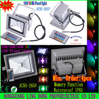 Wholesale LED Flood Light W W W W W Warm White Cool White RGB IR Remote Control FloodLight Waterproof V V Min Order