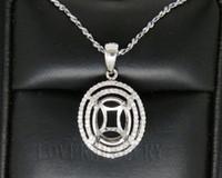 Wholesale Oval x10mm kt White gold Ct VS Natural Diamond Semi Mount Pendant