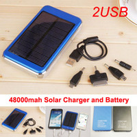 Wholesale 48000mAh High Capacity Solar Powered Charger Dual ports Power Bank solar Panel Battery for Mobile Phone Tablet MP4 Laptop With Retails Box