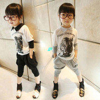 Wholesale England summer chiffon sleeve shirt harem pants tiger head piece fitted suit girls ts