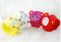 Sport battery tiger - Lovely Tiger Slap watch Fashionable Bendable silione cartoon slap wrist watch for kids mix colors