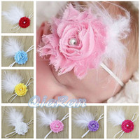 Girl photo props - Baby Girl Cute Headbands Shabby Flower with Pearls amp Feather Headband Infant Photo Prop Feather Headbands