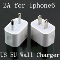 Wholesale 2014 New V A EU US AC Travel USB Wall Charger Home Adapter for iPhone S S Samsung Galaxy S3 S4 S5 HTC Cell Phones White