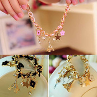 Wholesale Fashion Multielement Chain Jewelry Faux Leather Rope Crystal Handmade Bracelet