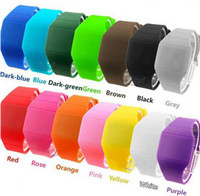 Wholesale Unisex Touch Design Digital LED Silicone Sports Wrist Watch For Women Men mix colors