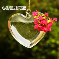 Wholesale Clear glass vase creative love hanging decorative vase hydroponic containers home decorations ornaments