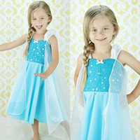 TV & Movie Costumes Teenage People 1406z summer dress 2014 tutu kids girl party dress princess costume baby girls elsa dress blue Sling new frozen dress 51801