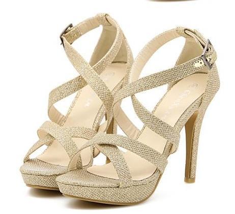 Glitter Women High Heels Gold Dress Sandals Crossover Strappy