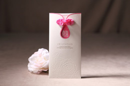 Wholesale 50pcs Romantic Pink Rose Style Wedding Invitations Printable and Customizable