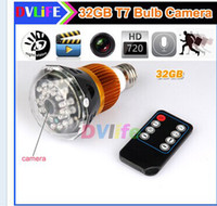 Wholesale HD P Night Vision LED Lamp Design Hidden Pinhole Bulb SPY Camera Mini Digital CCTV Security DV DVR with Remote Control