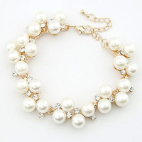 Wholesale European and American trade retro fashion gold plated color retention My Fair Lady Rhinestone pearl bracelet jewelry